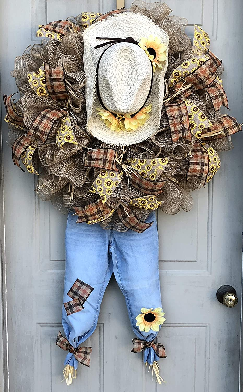 Fall Scarecrow Wreath Fall Thanksgiving Decor Thanksgiving Door Hanger Door Wall Decor Burlap Bowtique