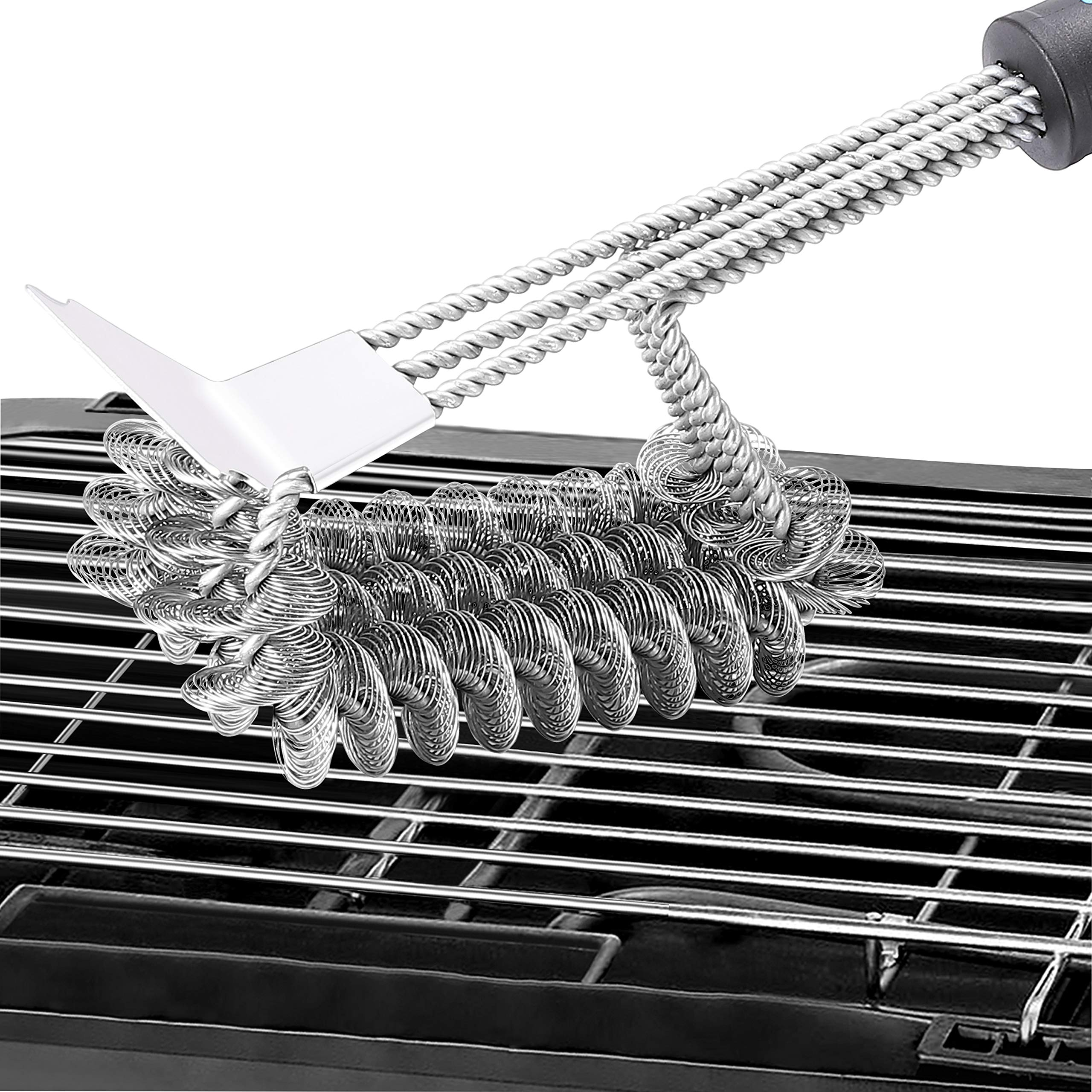 """CHbaby-Home Grill Brush Bristle Free - Stainless Steel Brush with 18"""" Handle for Porcelain Ceramic Iron or Steel Grills - Built in Scraper and Rust Resistant"""