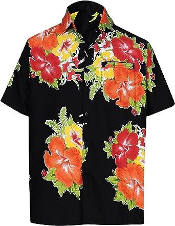LA LEELA Casual Hawaiana Camisa para Hombre Señores Manga Corta Bolsillo Delantero Surf Palmeras Caballeros Playa Aloha S-(in cms):96-101 Halloween Negro_W318: Amazon.es: Ropa y accesorios