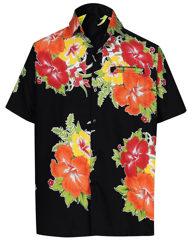 TALLA XL - Pecho Contorno (in cms) : 121 - 132. LA LEELA | Funky Camisa Hawaiana | Señores | Manga Corta | Bolsillo Delantero | Impresión De Hawaii | Playa | Hibisco Floral Flor Impreso
