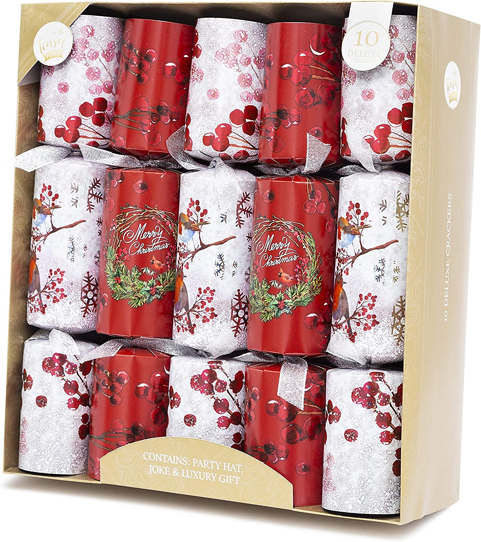 """Gold /& Silber Schneeflocken Christmas Jingle 10 Knallbonbon Party Hut Scherz 10 X 14/"""" Knacker"""