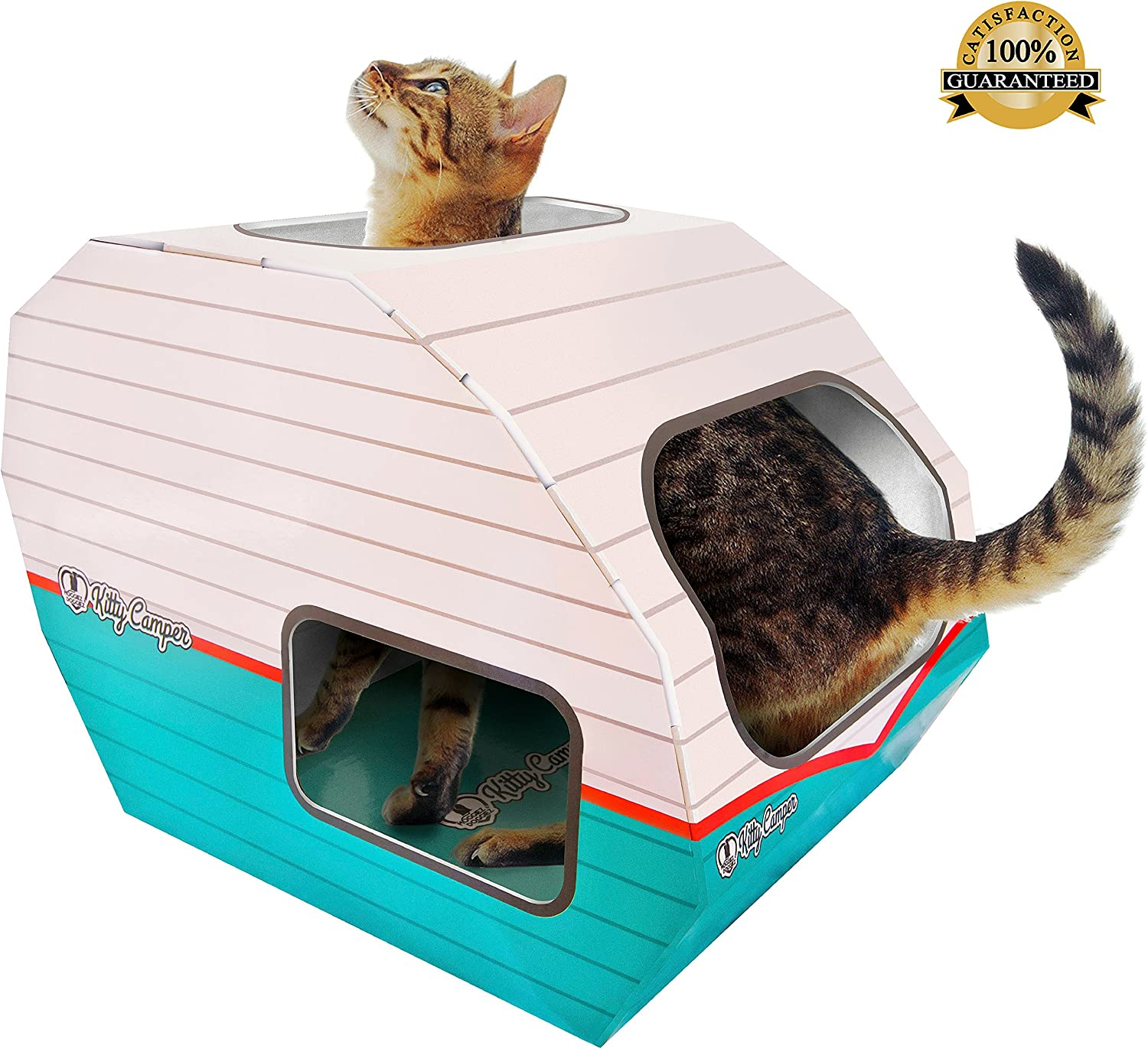 No 1 Rated Cat Toys Playhouse Best Indoor Cardboard Cat House Toy Now With Corrugated Scratching Post Base Free Mouse Feather Free Ebook Amazon Co Uk Pet Supplies