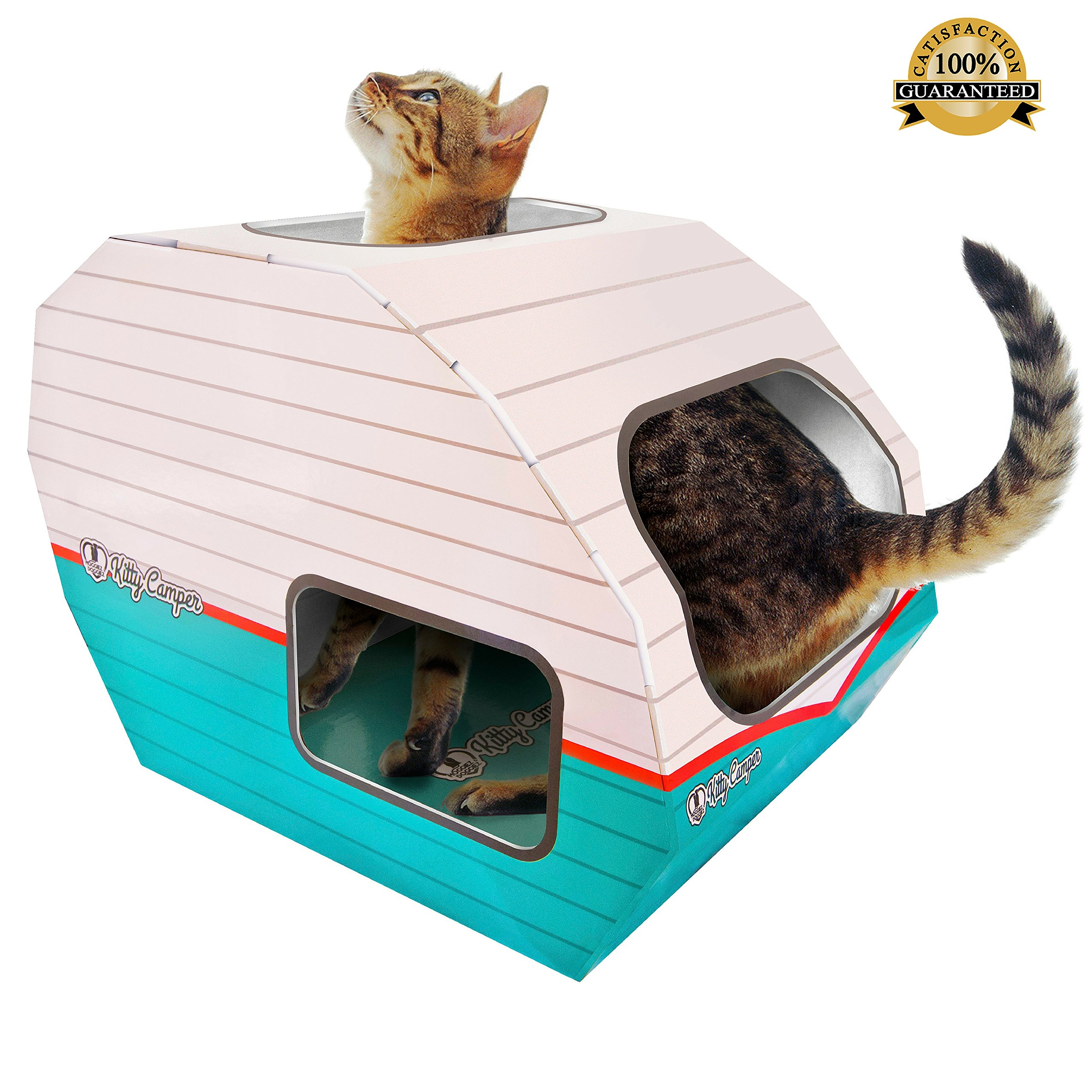 No 1 Rated Cat Toys & Playhouse- Best Indoor Cardboard Cat House & Toy
