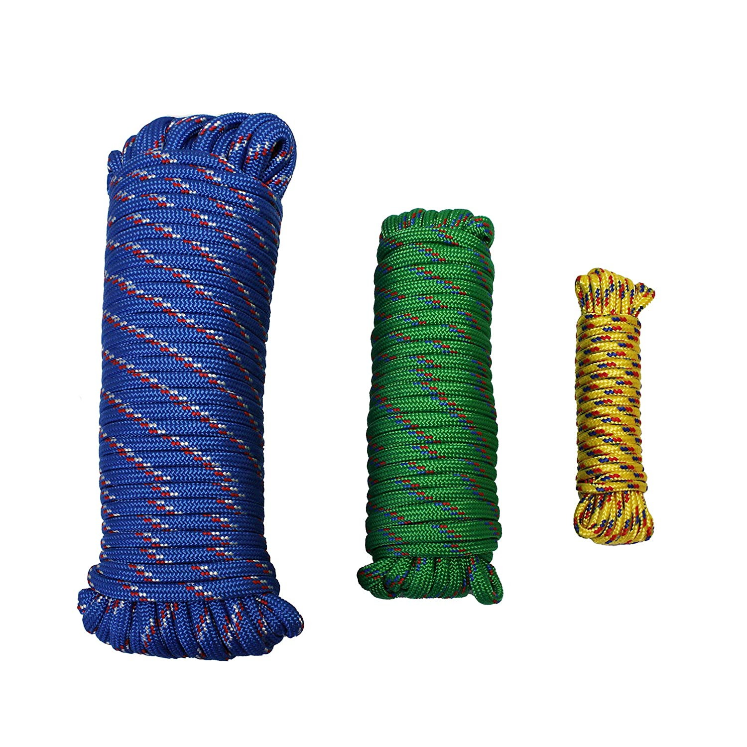 Multicolor MaxxHaul 50229 3-Pack of 1//4 x 25 3//8 x 50 1//2 x 100 Diamond Braided Rope Extra Strength-Sunlight and Weather Resistant