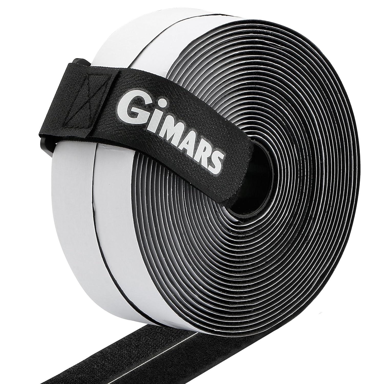 6M Velcro adhesivo tela doble cara Fijaci/ón segura para trabajos manuales y de bricolaje Gimars Velcro adhesivo ancho 20mm Blanco Equipado con cierre con hebilla para organizar