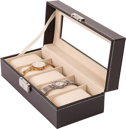 TRESKO® Caja para Relojes con 5 compartimentos, Buzón Memoria con ...