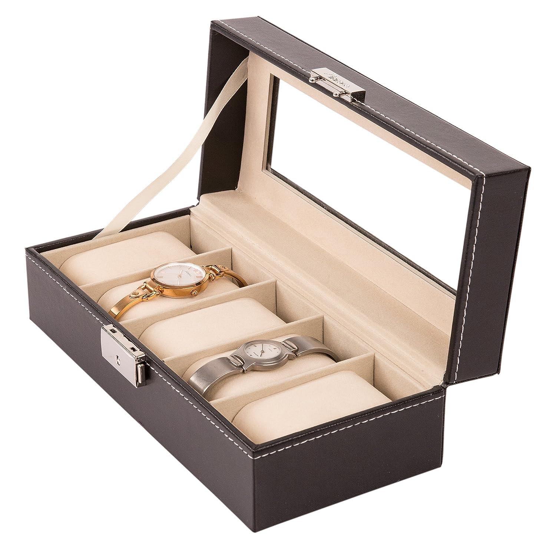 TRESKO® Caja para 5 de Relojes organizador de relojes caja relojero estuche relojero para almacenar relojes, de piel sintética, negro