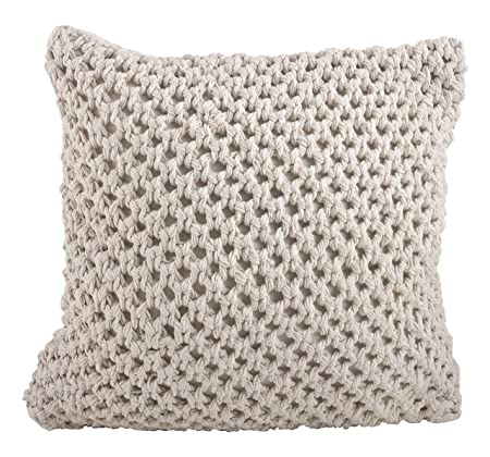 SARO LIFESTYLE 1590 Sheridan Collection Cotton Knitted Design Down Filled Throw Pillow, Vanilla, 20 Square,