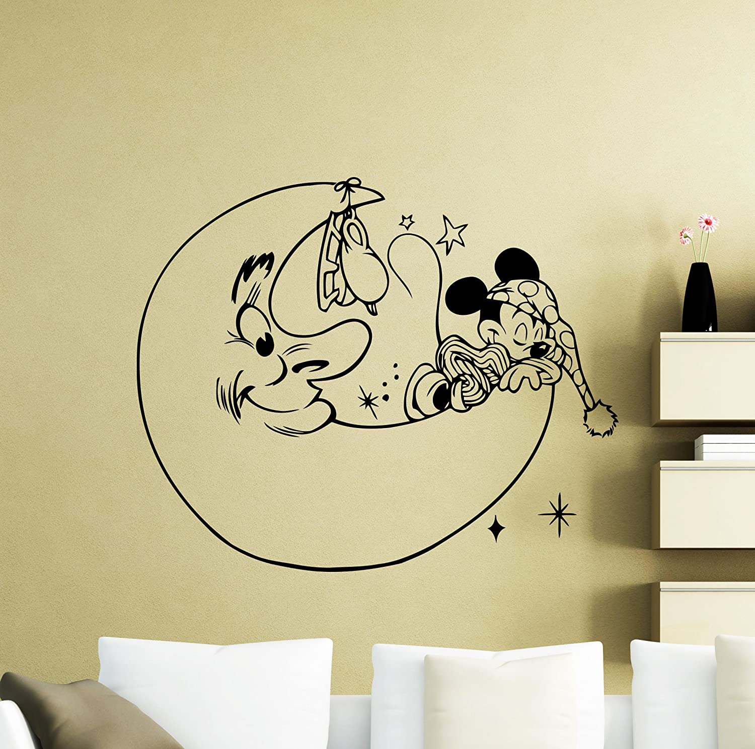 Girl Room Moon Sticker Peel and Stick Above Bed Watercolor Moon Wall Decal Nursery Removable Moon Decal Baby Boy Bedroom 10x10