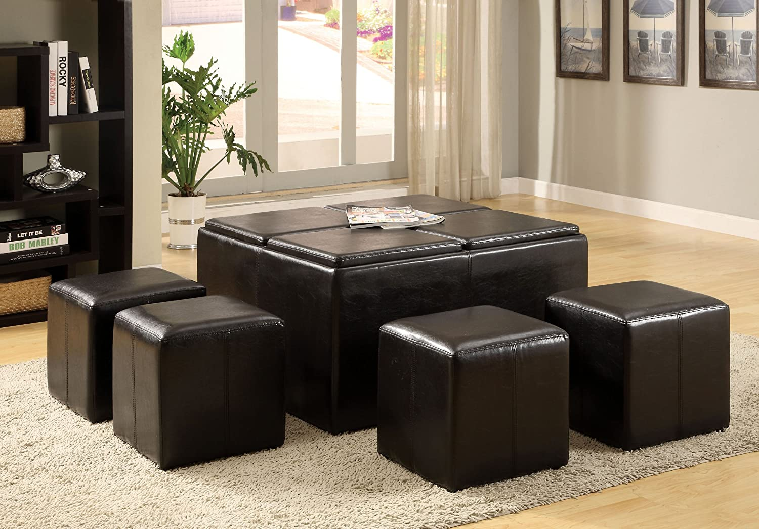 Amazon.com: Furniture Of America 5 Piece Cocktail Ottoman Table And Stool  Set, Dark Espresso: Kitchen U0026 Dining
