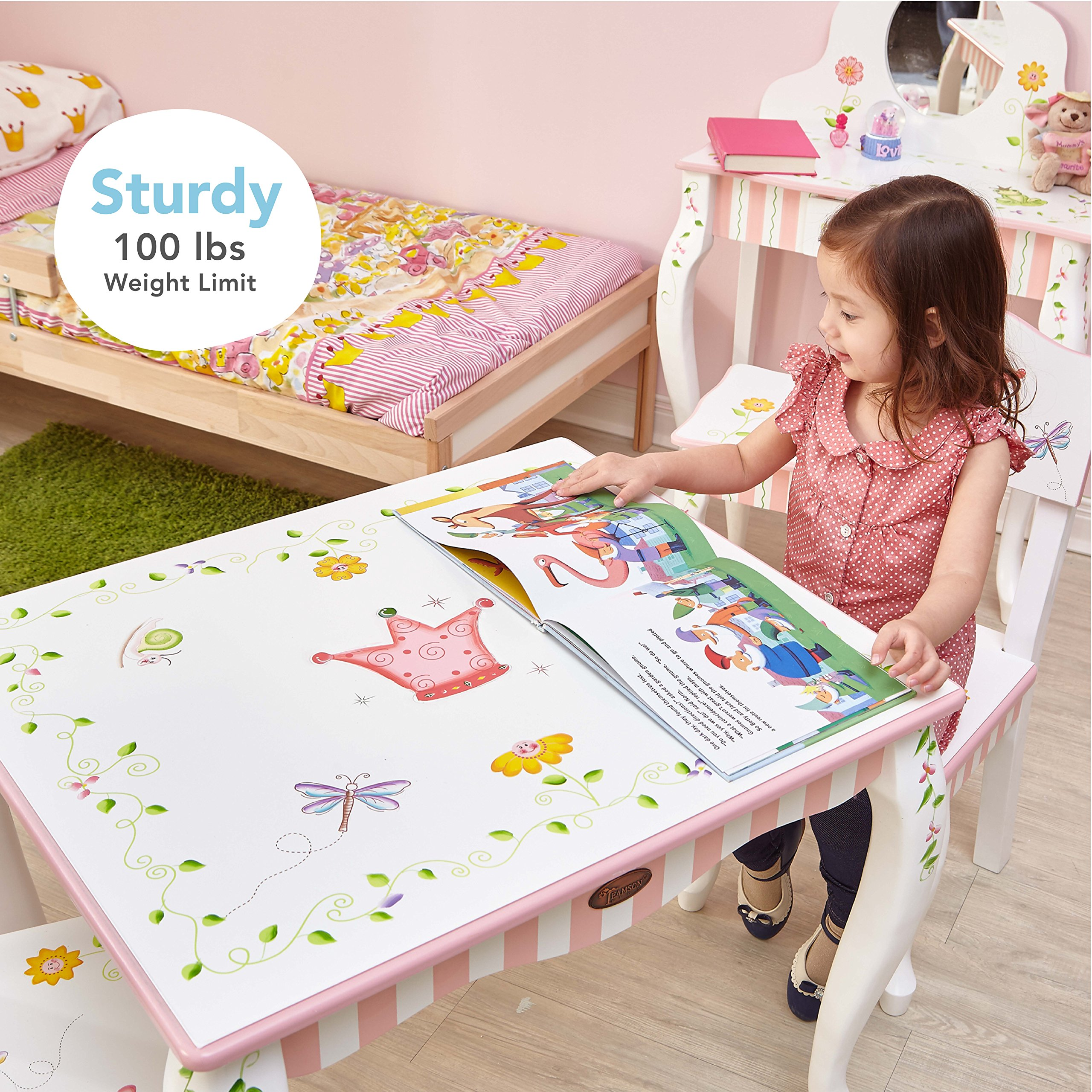 Fantasy Fields - Princess & Frog Thematic Hand Crafted Kids Wooden Table and 2 Chairs Set  Imagination Inspiring Hand Crafted & Hand Painted Details   Non-Toxic, Lead Free Water-based Paint by Fantasy Fields (Image #3)