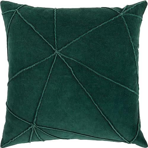 Amazon Brand Rivet Modern Velvet Lines Throw Pillow – 18 x 18 Inch, Botanical Green