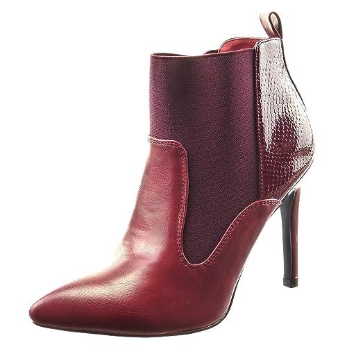 Sopily - Zapatillas de Moda Botines Chelsea Boots Low Boots Bimaterial A Medio Muslo Mujer Piel