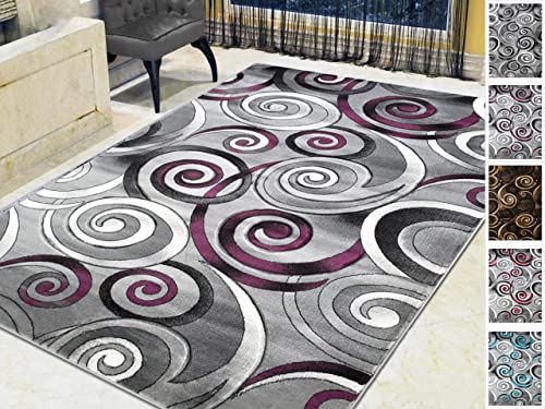 HR-Spiral Swirls Modern Contemporary Hand Carved Area Rug-Silver Purple Gray Black 5 x7