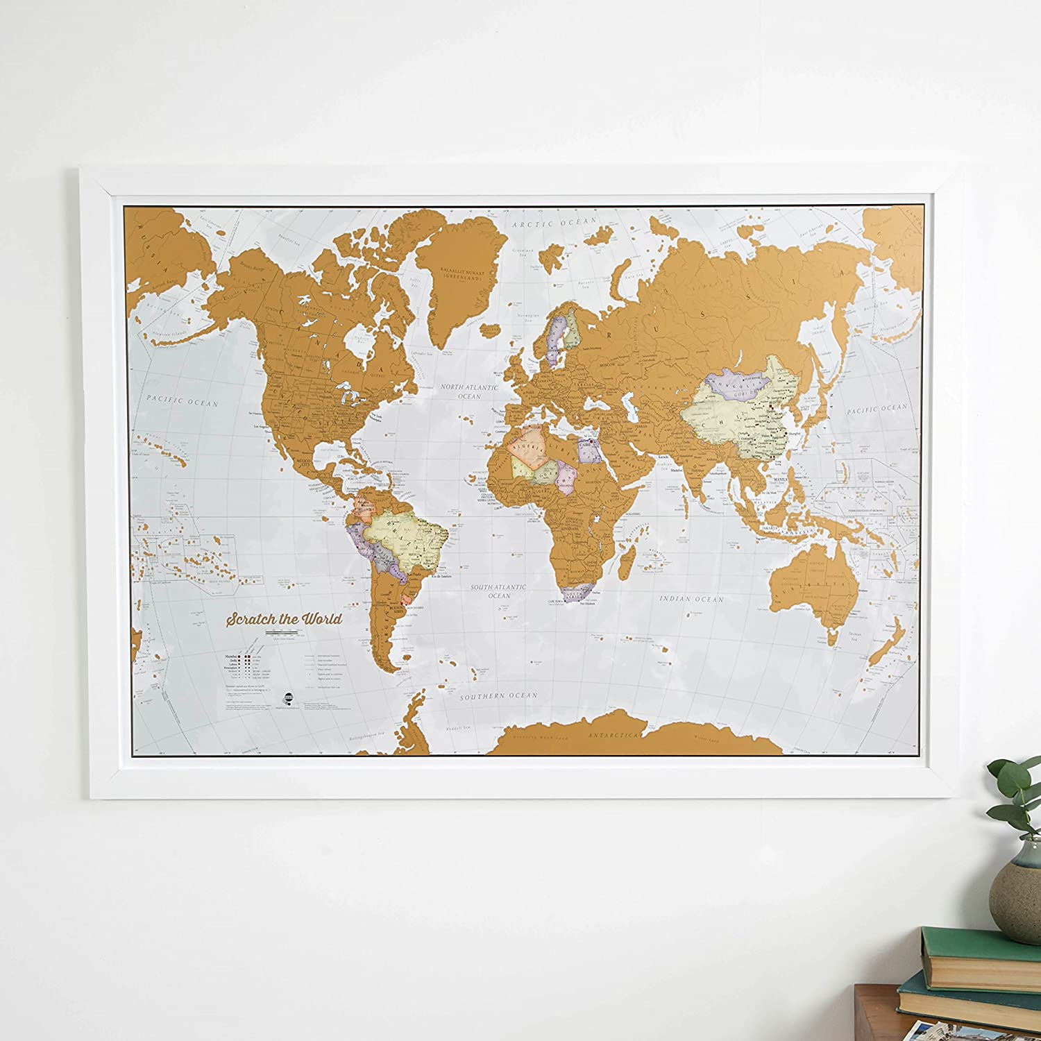 Amazon : Scratch The World�  Scratch Off Places You Travel Map Print!   Detailed Cartography  3311 X 2339 Inches : Office Products