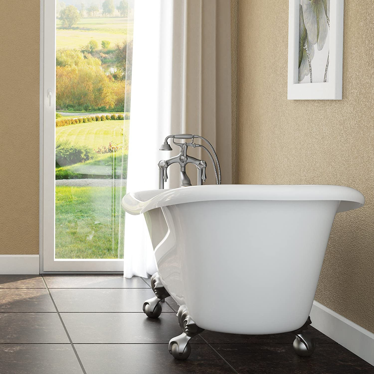 Luxury 60 inch Clawfoot Tub with Vintage Slipper Tub Design in White ...