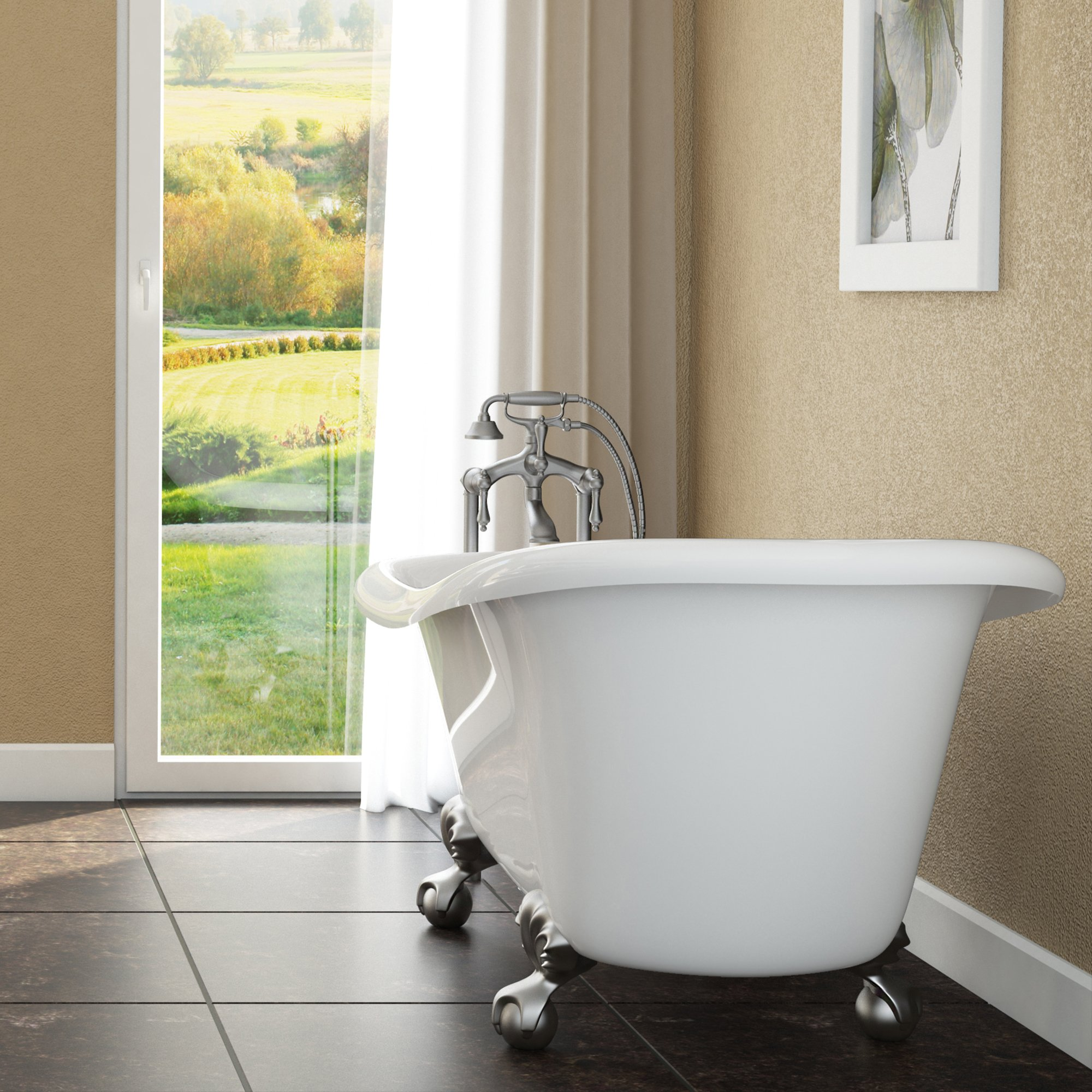 Luxury 60 inch Clawfoot Tub with Vintage Slipper Tub Design in White, includes Brushed Nickel Ball and Claw Feet and Drain, from The Brookdale Collection by Pelham & White
