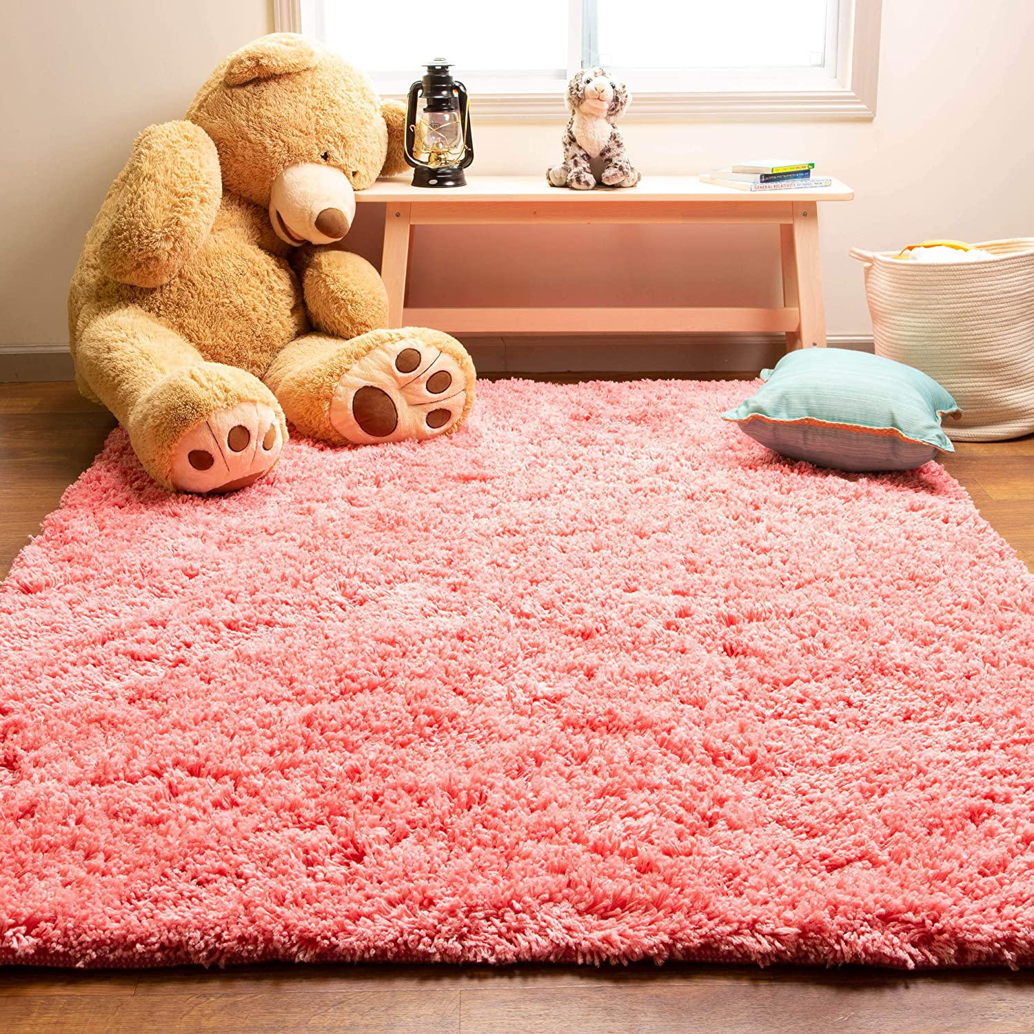 Red Soft Non-Shed Bright Plain Shaggy Area Rug Mat Luxury 50mm Thick Deep Pile