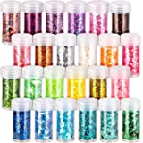 24 Boxes Holographic Chunky Glitter, FANDAMEI 24 Colors 10g Nail Art Glitter Sequins, Iridescent Glitter Flakes for Nail, Eye