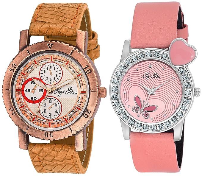 Pappi-Haunt - Pack of 2 - Designer Couple Wrist Watch for Boys, Girls, Men, Women