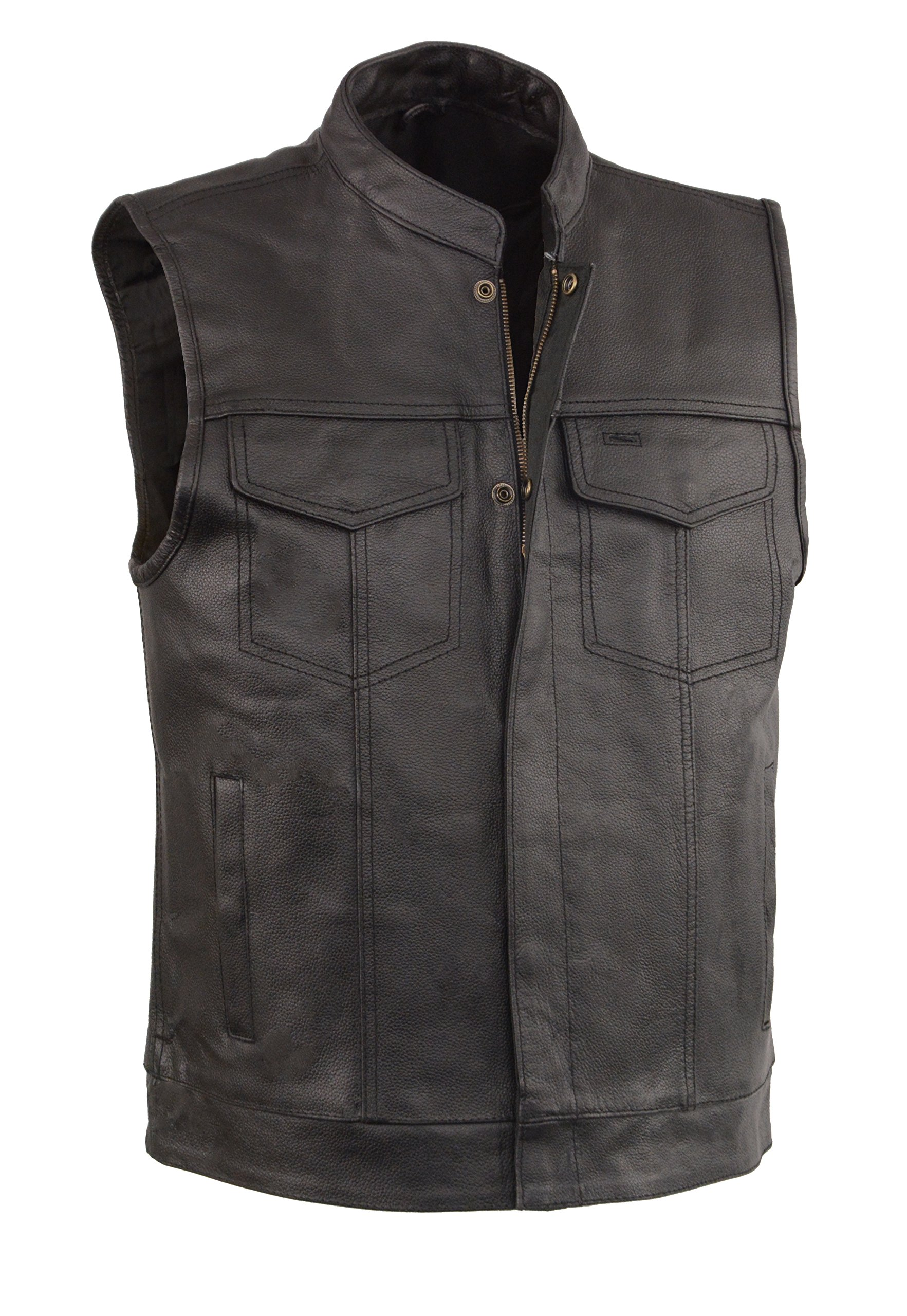 EVENT LEATHER Men's Leather Motorcycle Vest Zipper & Snap Closure w/2 Inside Gun Pockets & Single Panel Back (X-Large)
