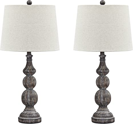 Amazon Com Signature Design By Ashley Mair Rustic Farmhouse Poly Table Lamp Set Of 2 Gray Home Kitchen