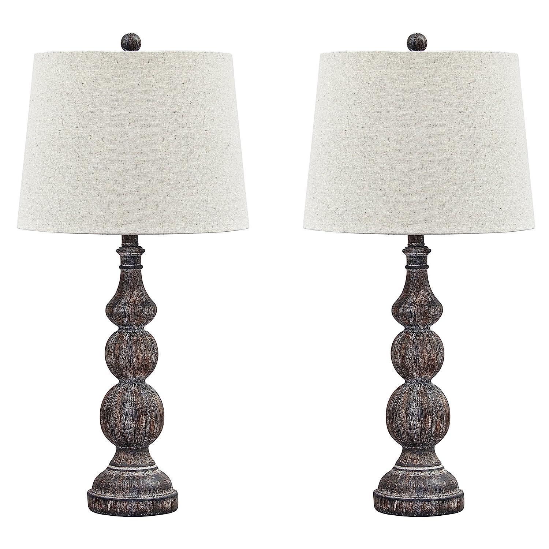 Ashley Furniture Signature Design - Mair Poly Table Lamps - Set of 2 - Timeworn Finish - Antique Black