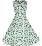Wellwits Women's Tropical Palm Watermelon Summer Vintage Swimg Party Dress