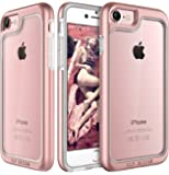 Elv Shock Absorption / High Imapct Resistant Full Body Hybrid Armor Protection Defender Clear Case Cover for Apple iPhone 7 ,Rose Gold