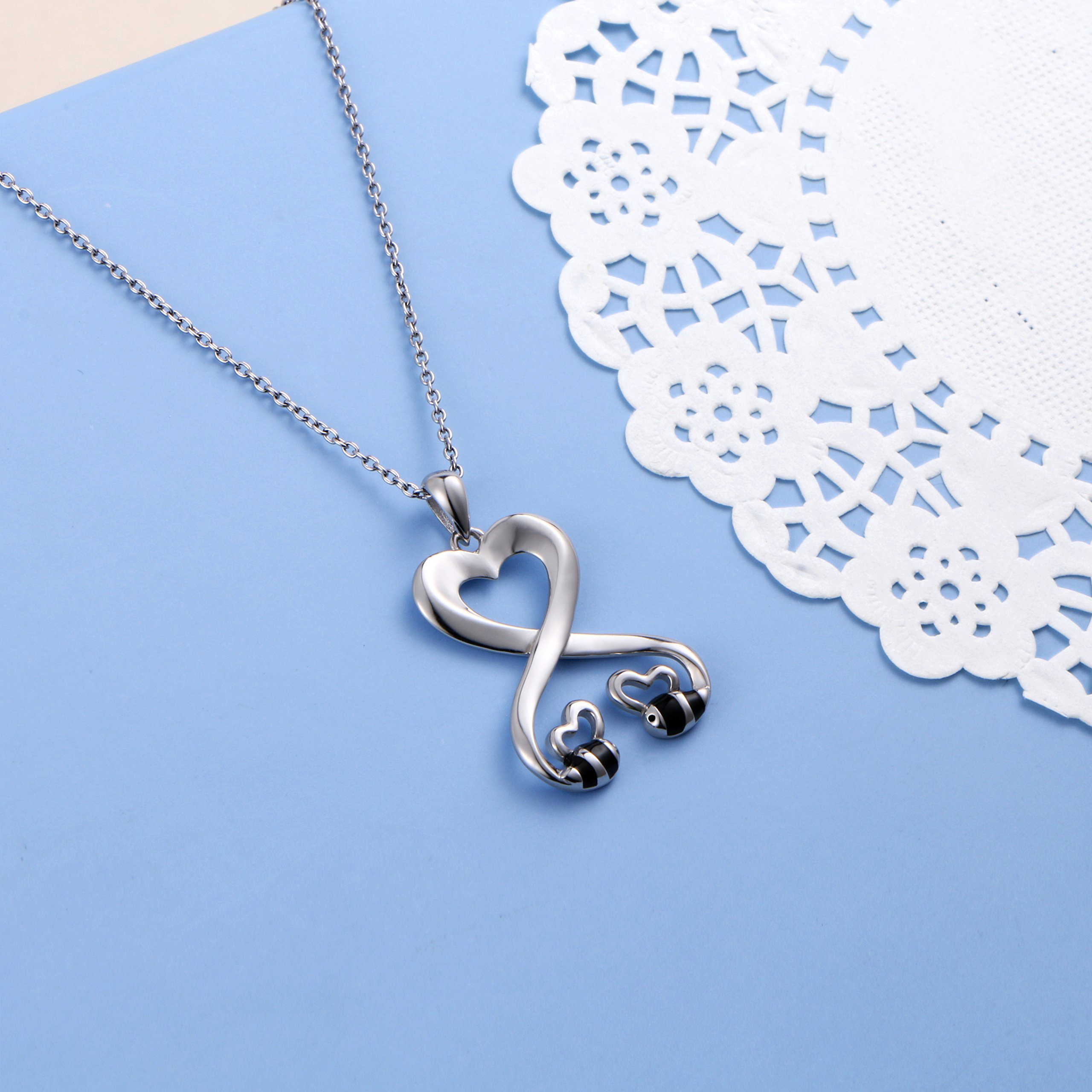 925 Sterling Silver Double Bees Infinity Love Heart Pendant Necklace for Girlfriend, 18'' by SILVER MOUNTAIN (Image #6)