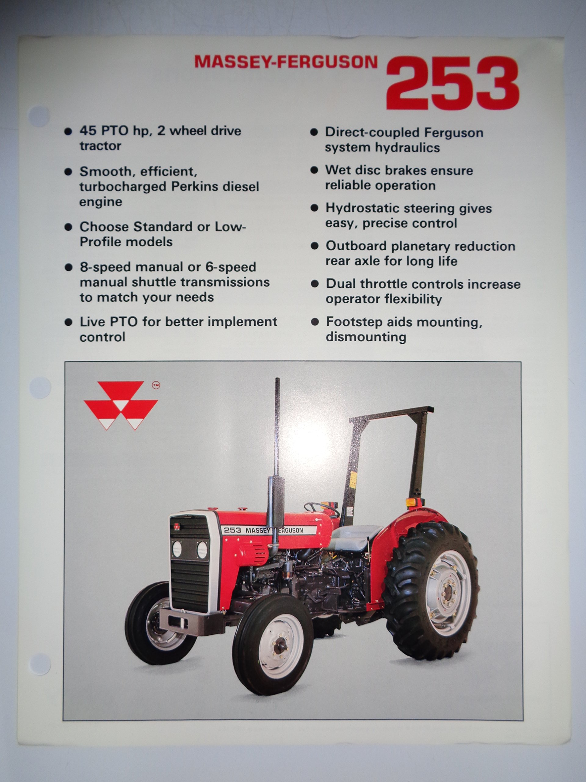 Massey Ferguson MF 253 Tractor Sales Spec Sheet Brochure 12/88: MF