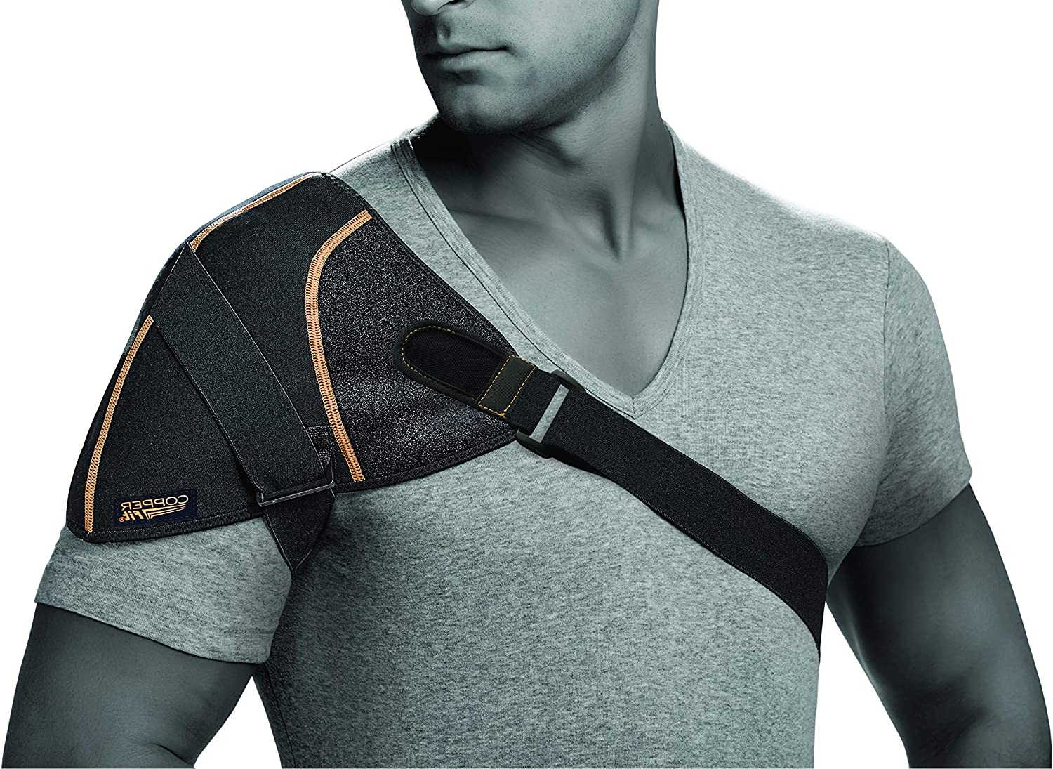 Copper Fit mens Copper Fit Rapid Relief Shoulder Wrap With Hot/Cold Ice Pack Base Layer, Black, One Size US: Clothing