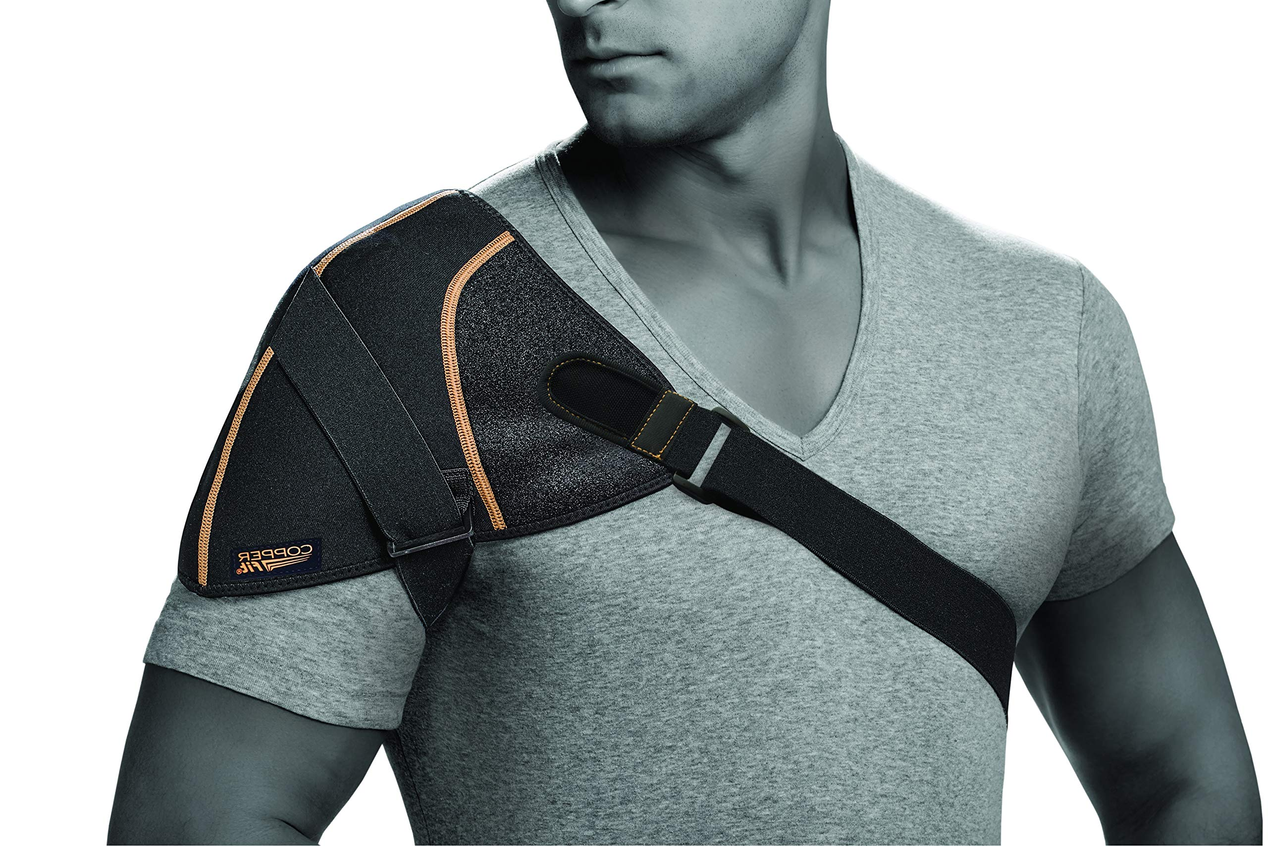 Copper Fit Unisex-Adult's Rapid Relief Shoulder Wrap with Hot/Cold Ice Pack, Black, One Size Fits All by Copper Fit