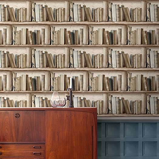 Wall Fashion Books Splendour Neutral Bookcase Paste the Wall ...
