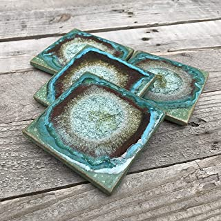 product image for Geode Crackle Coaster Set of 4 in Green, Geode Coaster, Crackle Coaster, Fused Glass Coaster, Crackle Glass Coaster, Agate Coaster, Ceramic Coaster, Dock 6 Pottery Coaster