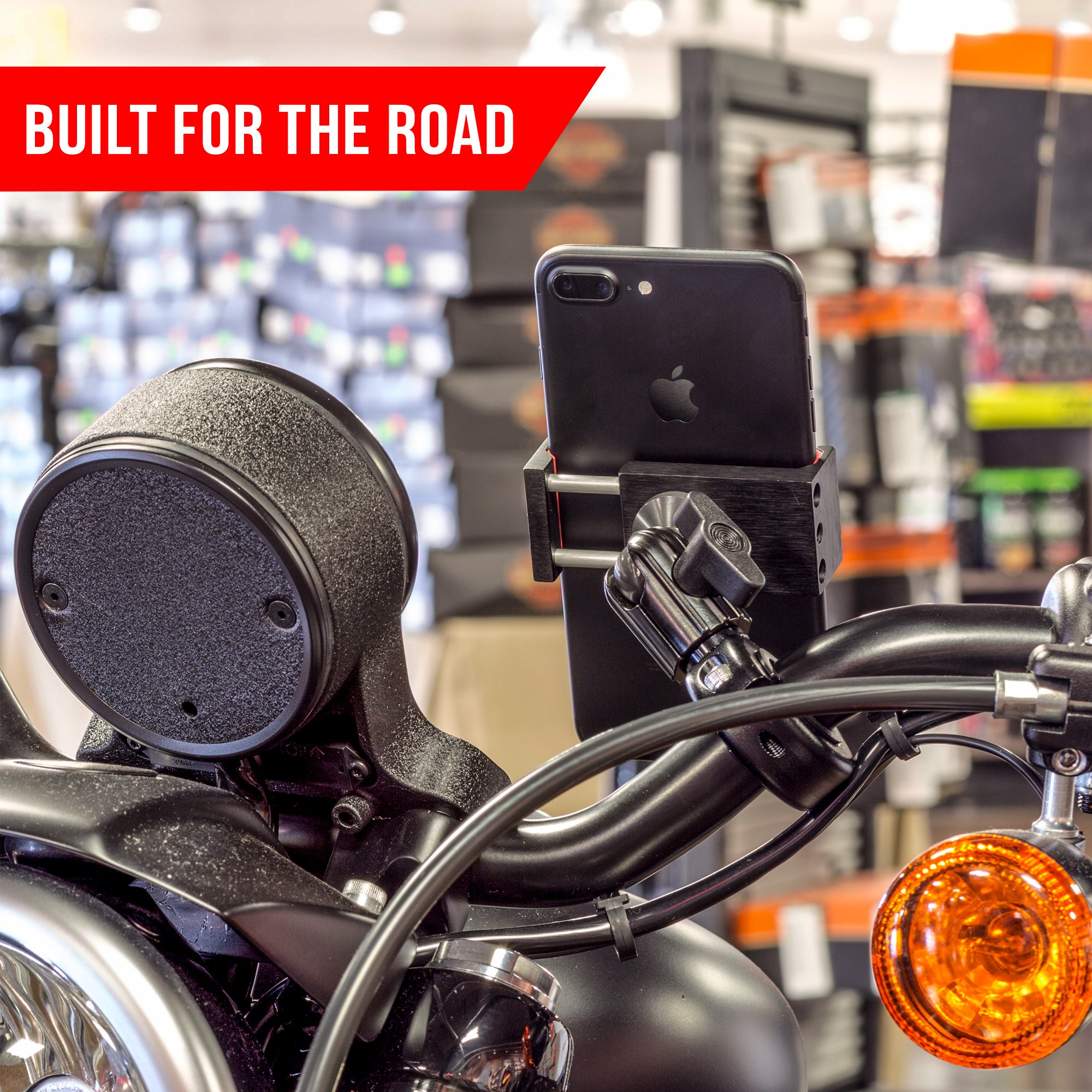 Metal Motorcycle Mount for Phone - by TACKFORM [Enduro Series] - NO SLINGS NEEDED. Rock solid holder for Regular and Plus sized iPhone and Samsung devices. Industrial Spring Grip by Tackform Solutions (Image #5)