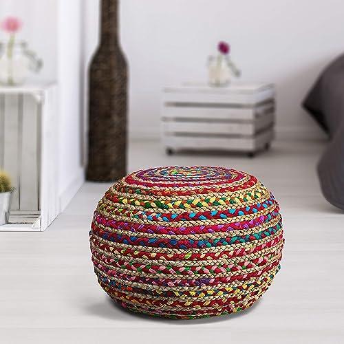 L.R. Resources Boho Beauty Braided Pouf Ottoman, 14 x 20 , Multicolor –