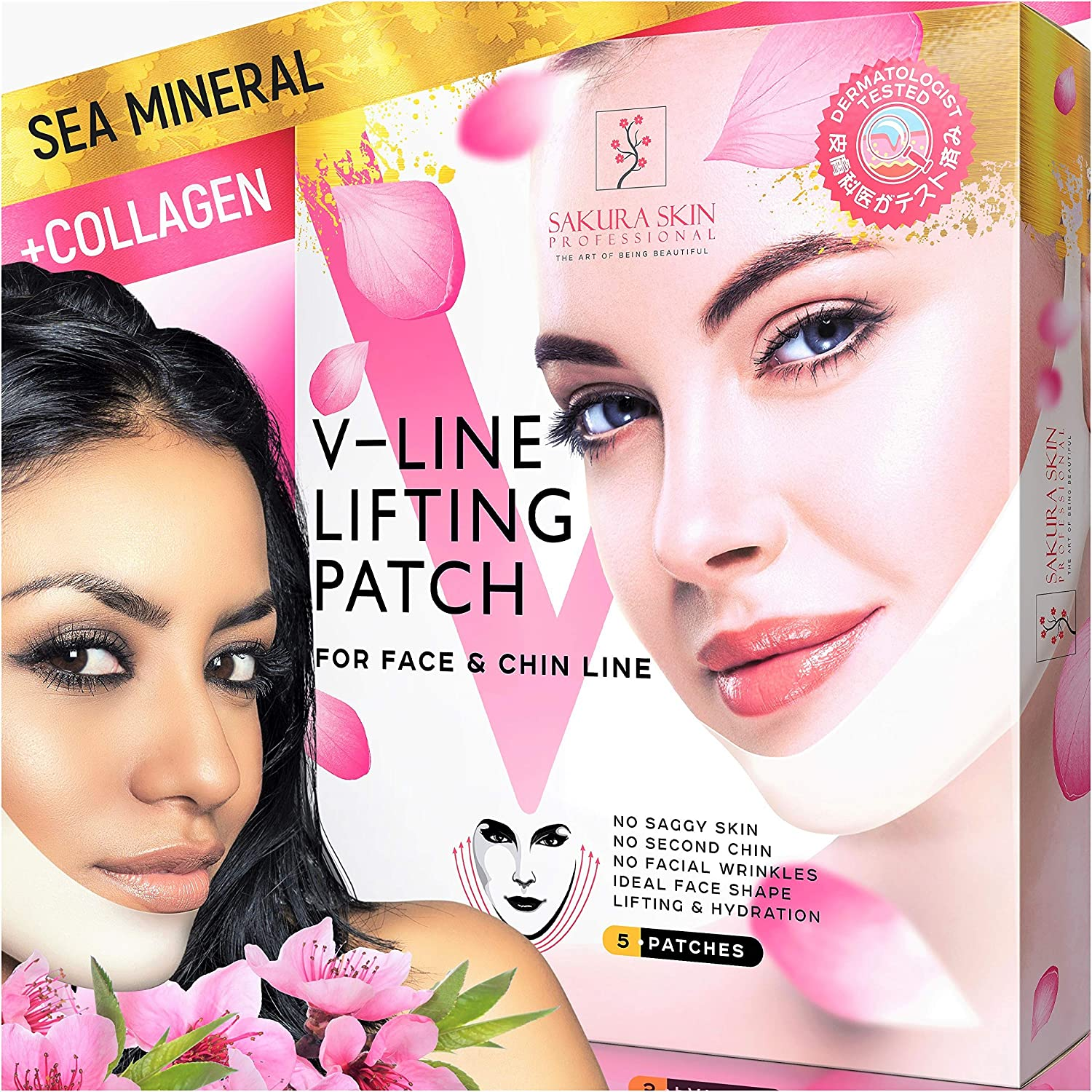 V Line Mask Neck Mask Face Lift V Lifting Chin Up Patch Double Chin Reducer Neck Lift V Up Contour Tightening Firming Moisturizing ?ollagen Chin Mask V Shape Face Lifting V Zone Mask Tape