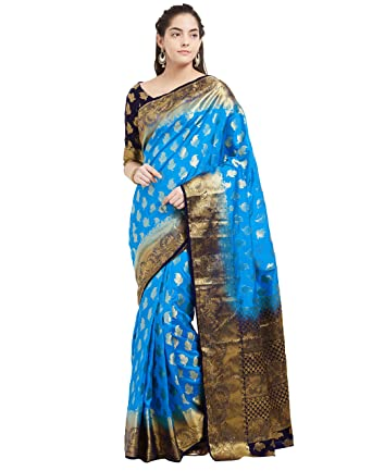 95dfe39538 Viva N Diva Women's Banarasi Art Silk Woven Blue Saree with Un-Stiched Blouse  Piece