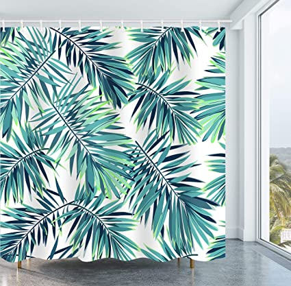 Get Orange Leaves Shower Curtain Tropical Plants Palm Trees Banana Mildew Resistant Polyester