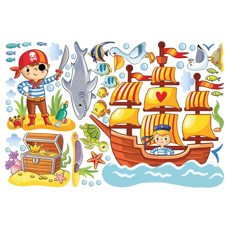 Bilderwelten Wandtattoo Piraten Set Wandtattoo Wandsticker Kinderzimmer Illustration, Größe  60cm x 90cm