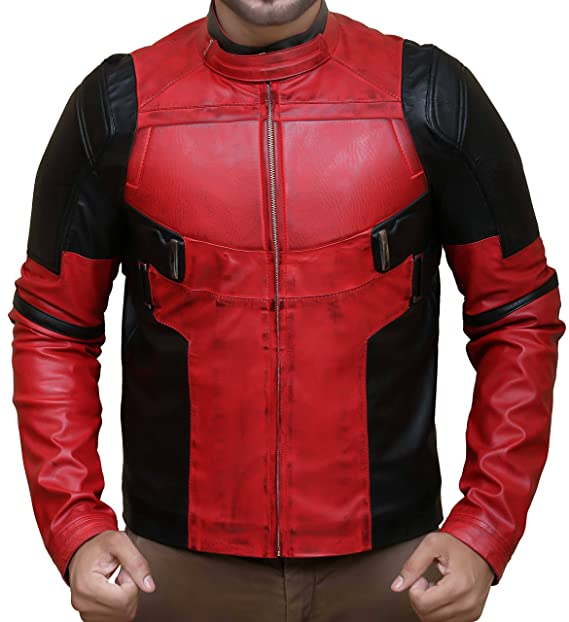 Superior Leather Garments para Hombre Chaqueta de Piel auténtica Deadpool Ryan Reynolds Rojo 2XL-Person