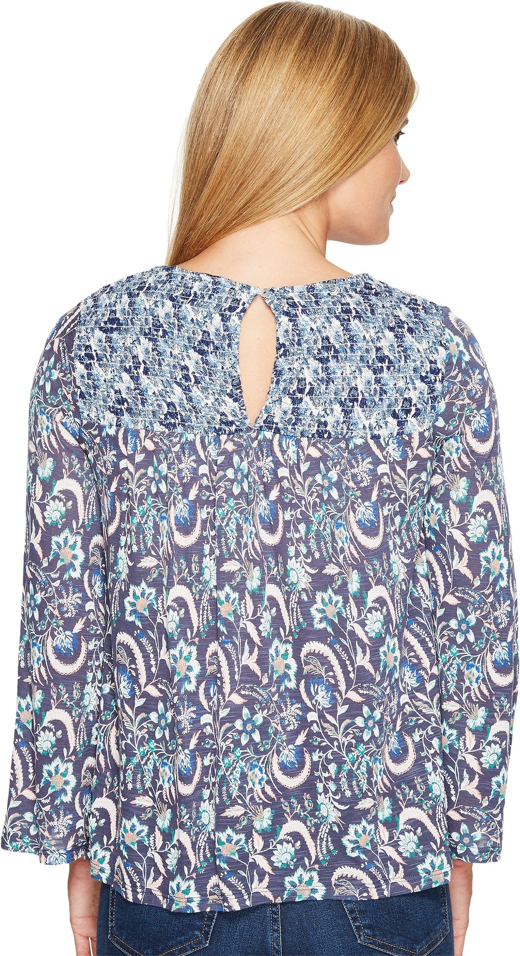 Lucky Brand Women's Mixed Print Smocked Top, Blue/Multi, Small