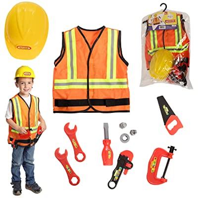 DRESS 2 PLAY Contractor Pretend Costume with Hard Hat, 9 Piece Dress up Set with Accessories: Clothing