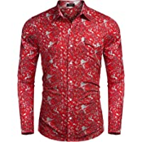 720ed2289da3 COOFANDY Men s Floral Button Down Shirt Long Sleeve Slim Fit Casual Paisley  Dress Shirt