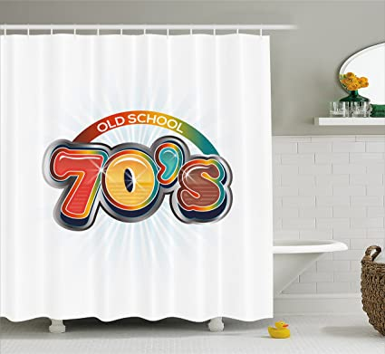 70s Party Pattern Shower Curtain Fabric Decor Set with Hooks 4 Sizes Ambesonne