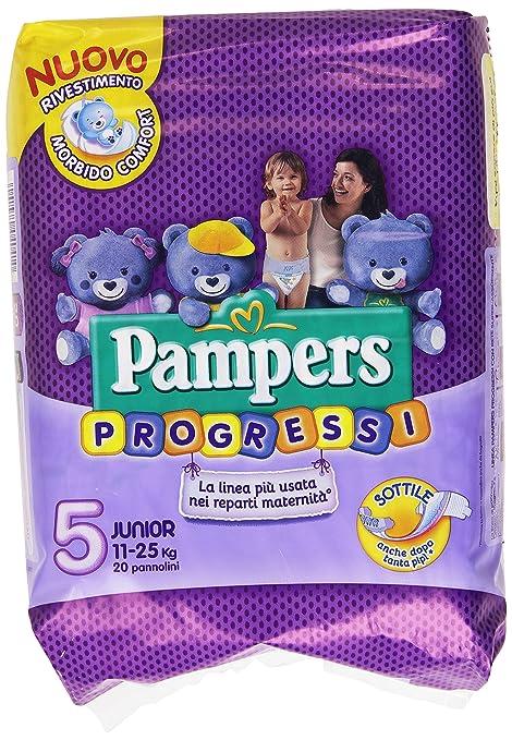 65 opinioni per Pampers Progressi Pannolini Junior, Taglia 5 (11-25 kg), 20 Pannolini