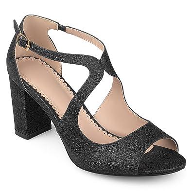 6cbf1db2e0ad Journee Collection Womens Open Toe Intersecting Straps Glitter Heels Black