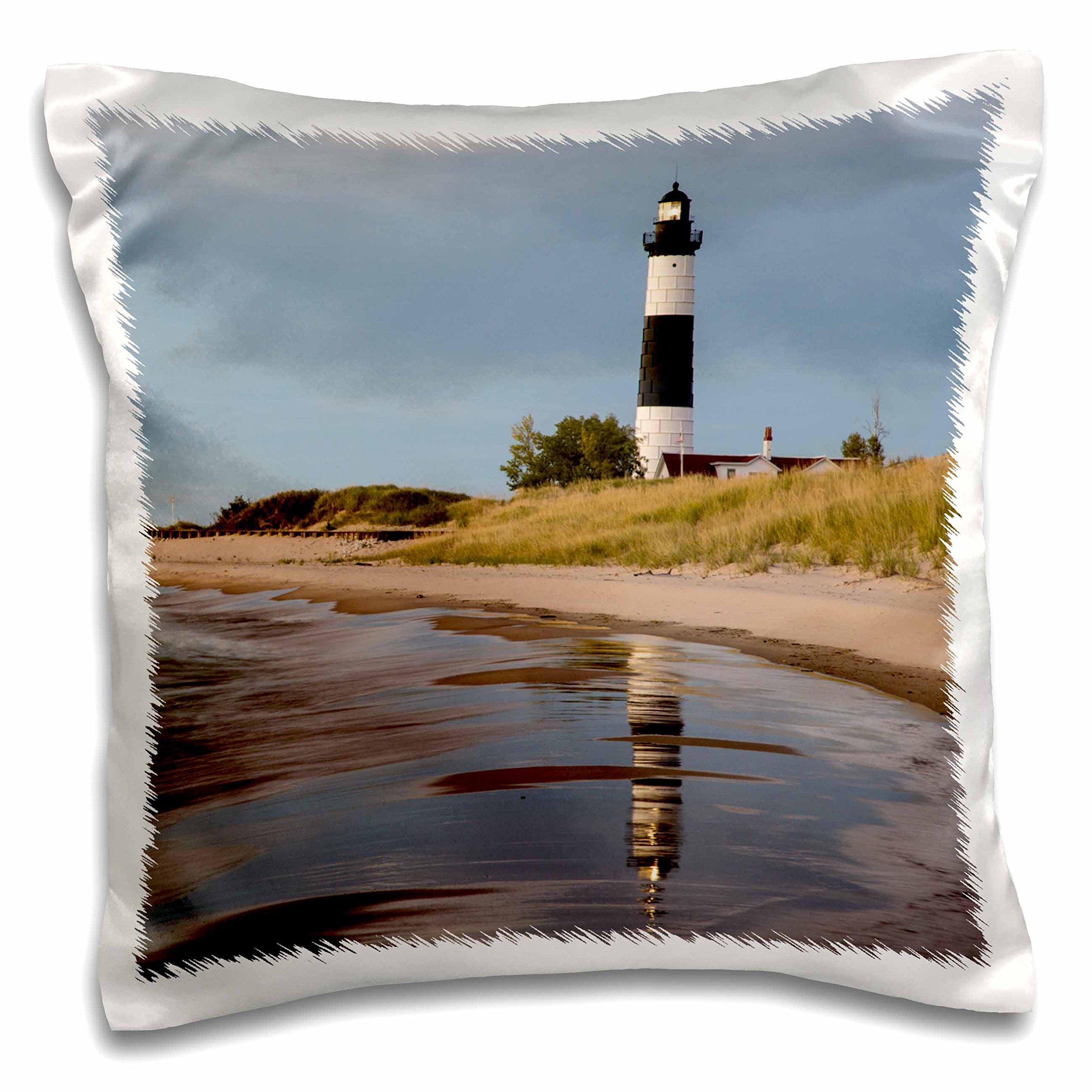3dRose pc_190090_1 Big Sable Point Lighthouse, Lake Michigan, Ludington Spa, Michigan, Use Pillow Case, 16 x 16