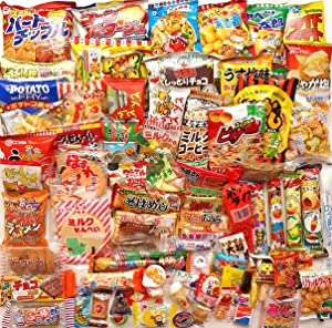 Japanese Dagashi Assortment Snacks Sweets Candies (A Box Full of Dagashi) 85 packs of dagashi